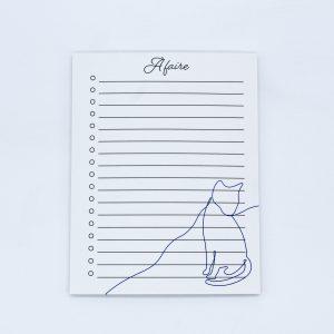Bloc-notes à faire - to-do list ligné avec illustration de chat assis